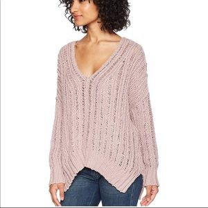 Free People Infinitive Infinite Pink V Sweater